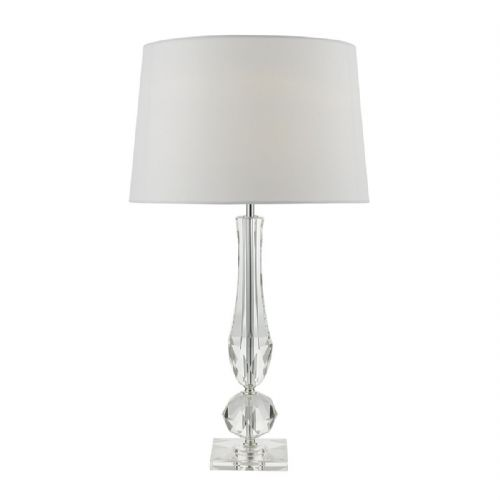 Macy Table Lamp Polished Chrome Clear Crystal complete with Shade (Class 2 Double Insulated)